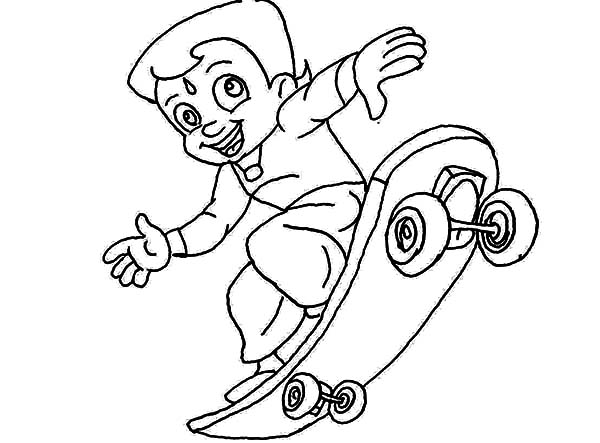 Chota Bheem on Skateboard Coloring Pages