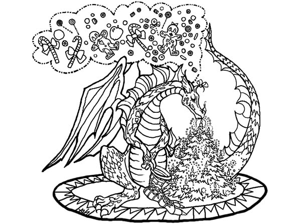 Christmas Chinese Dragon Coloring Pages