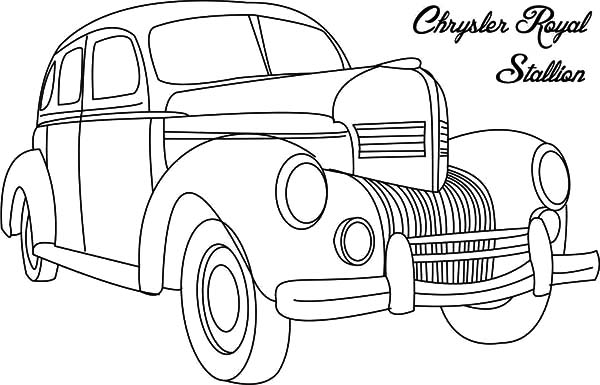 Chrysler Royal Stallion Classic Car Coloring Pages