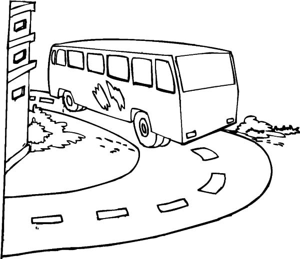 City Bus Turning Around Coloring Pages