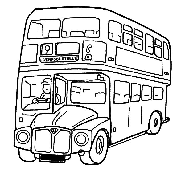 City Double Decker School Bus Coloring Pages