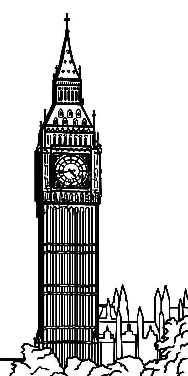 Clock Tower Coloring Pages for Kids
