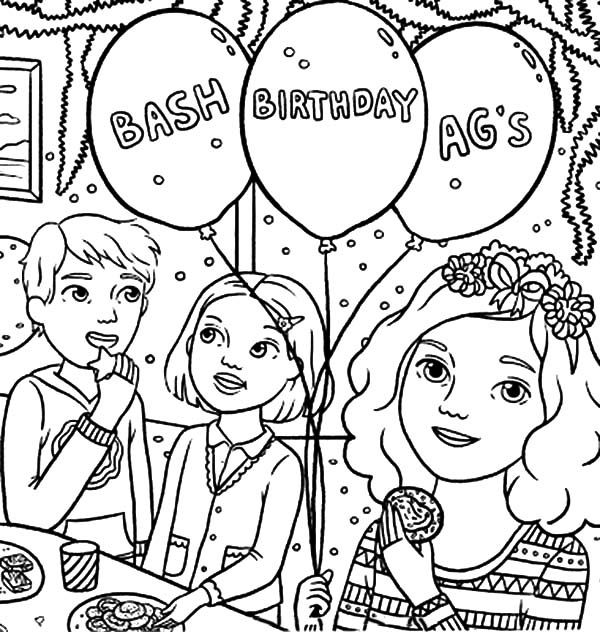 Conversation at Birthday Party Coloring Pages