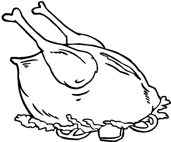 Cooking Complete Chicken and Drumstick Coloring Pages - NetArt