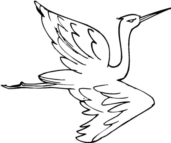 Crane bird netart for Flying crow coloring page