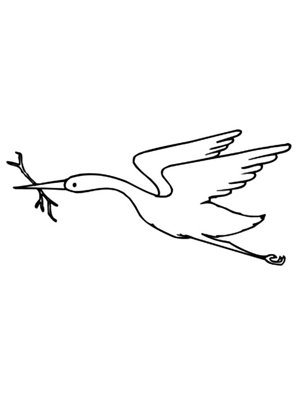 Crane Bird with Branch in its Beak Coloring Pages