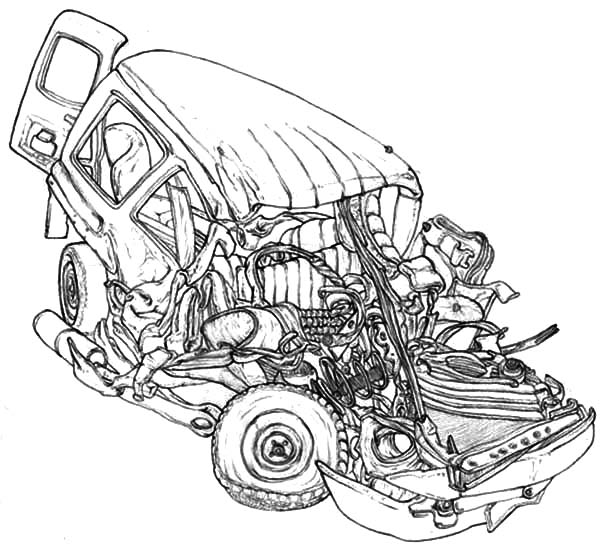 Crashed Cars Coloring Pages