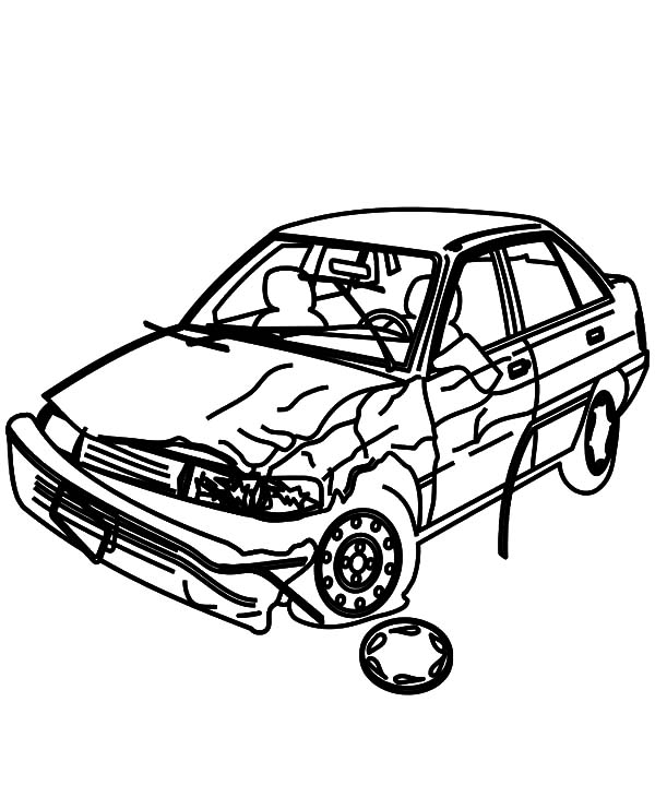 Crashed Cars Picture Coloring Pages