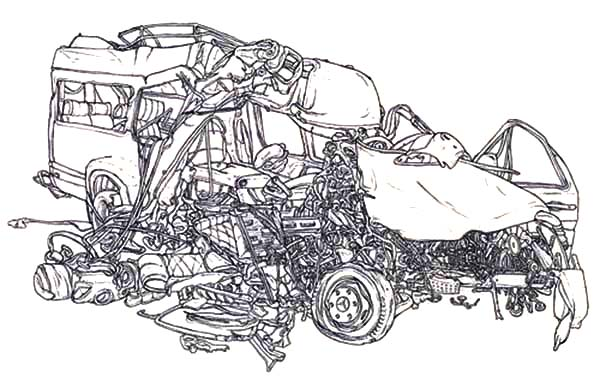 Colouring Pages Of Car Crash : Crashed cars netart