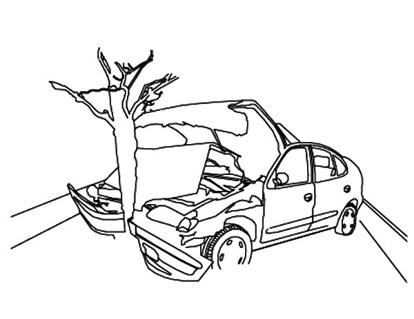 Crashed Cars to Tree Coloring Pages