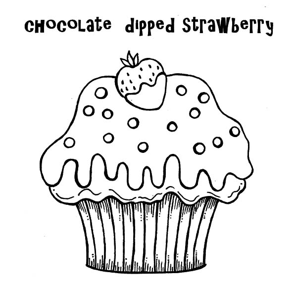 Cup Cake Chocolate Dipped Strawberry Coloring Pages