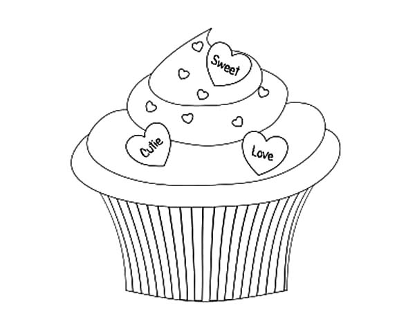 Cupcakes Decorated with Love Coloring Pages