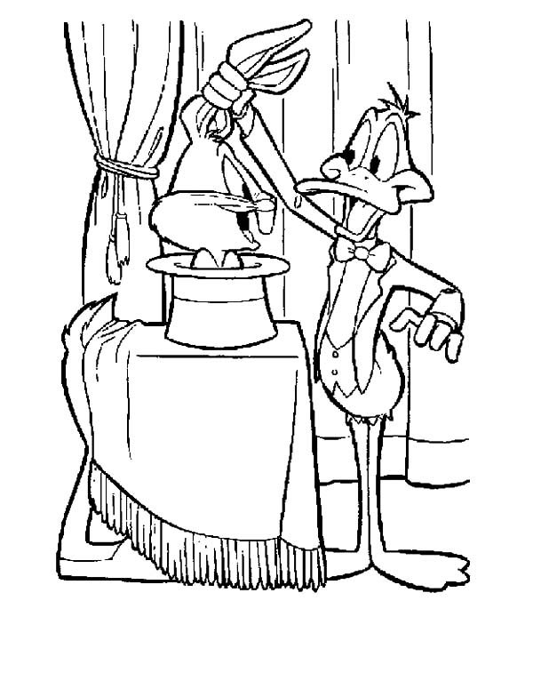 Daffy Duck the Magician Coloring Pages - NetArt