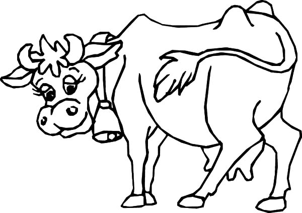 Dairy Cow Wear Ringing Bell Coloring Pages