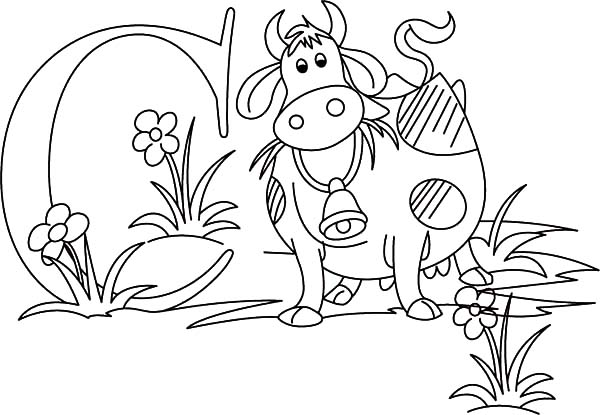 Dairy Cow and Letter C Coloring Pages