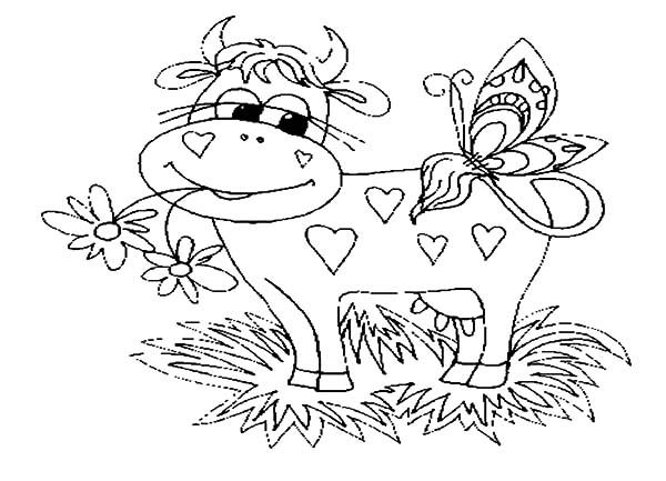 Dairy Cow in Love with Butterfly Coloring Pages