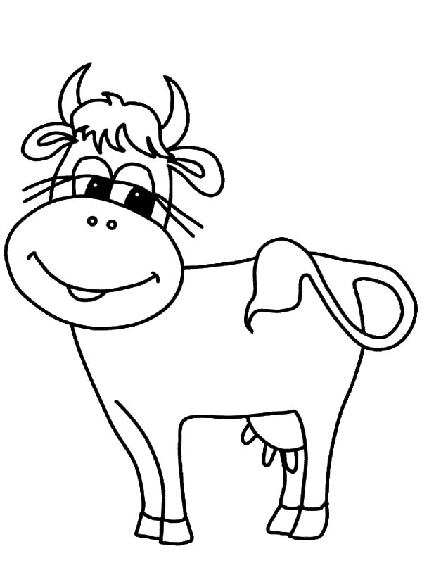 Dairy Cow with Long Eyelashes Coloring Pages