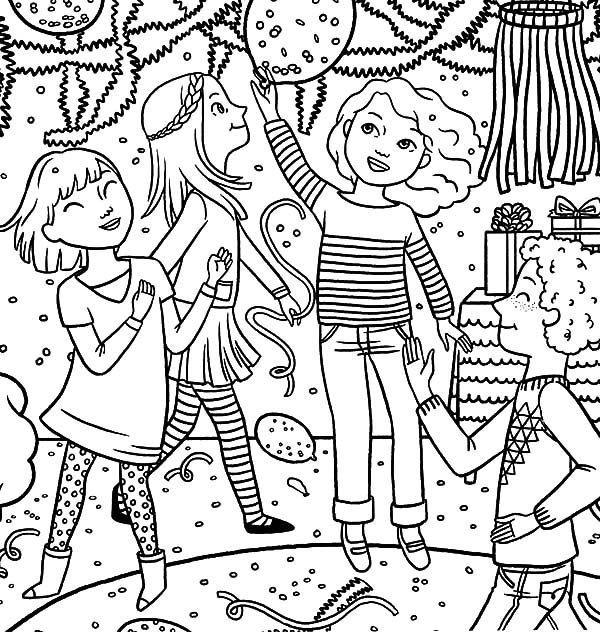 Dancing Together Birthday Party Coloring Pages - NetArt