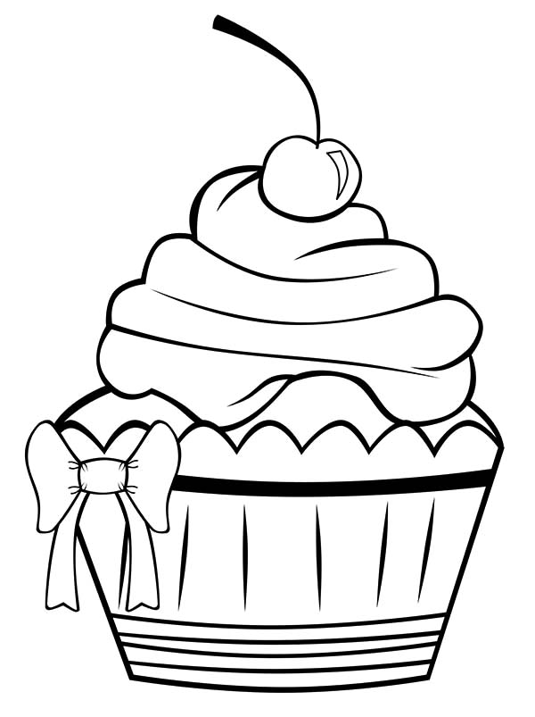 Decorating Cupcakes with Ribbon Coloring Pages