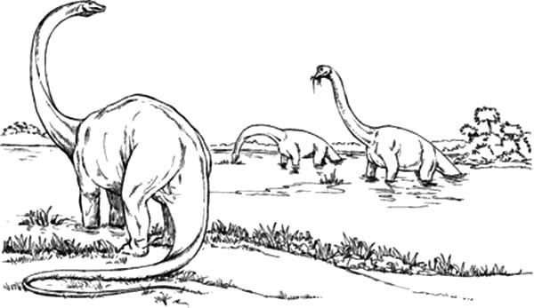 Diplodocus in the Lake Coloring Pages
