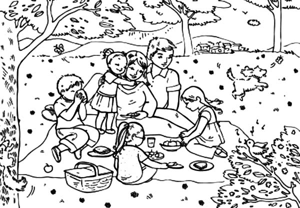 Drawing Big Family Picnic Coloring Pages NetArt