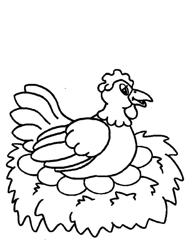 Drawing Chicken Egg Being Hatched Coloring Pages