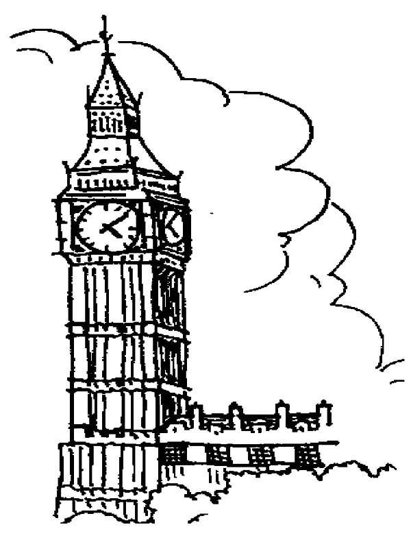 Drawing London Clock Tower Coloring Pages