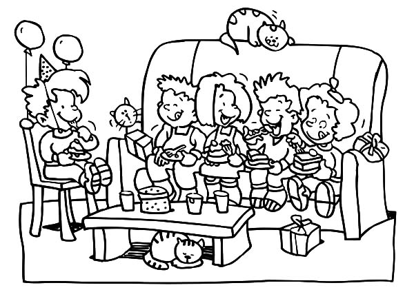 Eating Delicious Cake at Birthday Party Coloring Pages