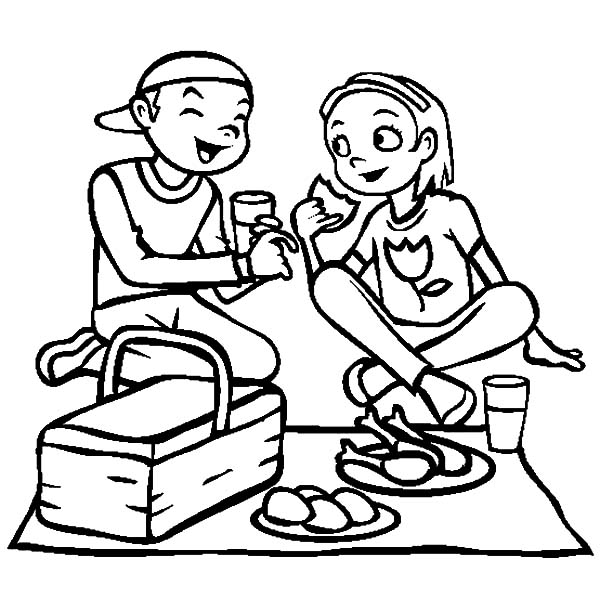 Eating Lunch at My Girlfriend Family Picnic Coloring Pages