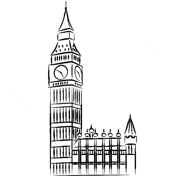 England Proud Big Ben Clock Tower Coloring Pages