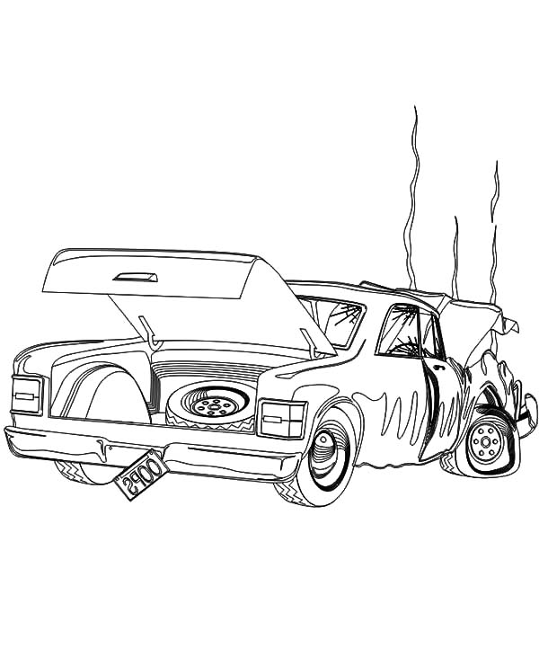 Colouring Pages Of Car Crash : Crashed cars free coloring pages