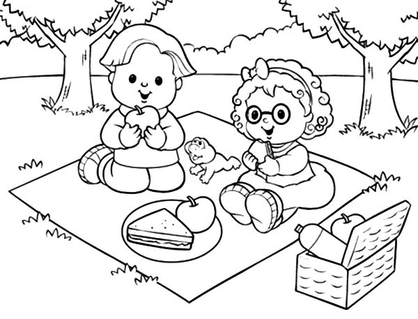 Family Picnic Coloring Pages - NetArt