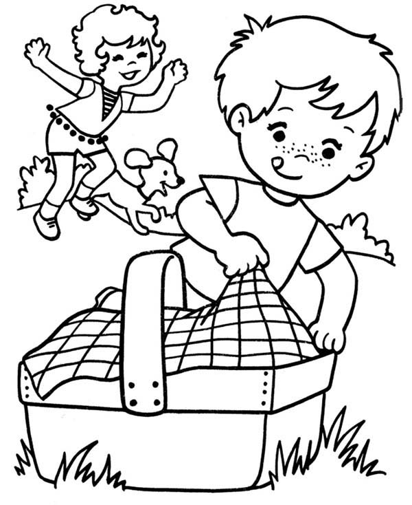 Family Picnic Spring Activities Coloring Pages