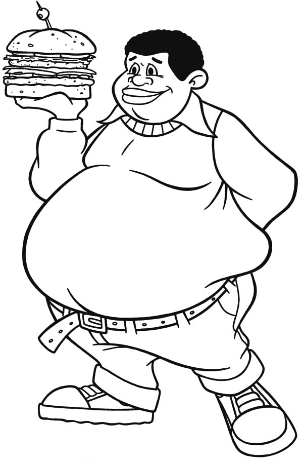 burger coloring page - fat albert boy bring big burger coloring pages netart
