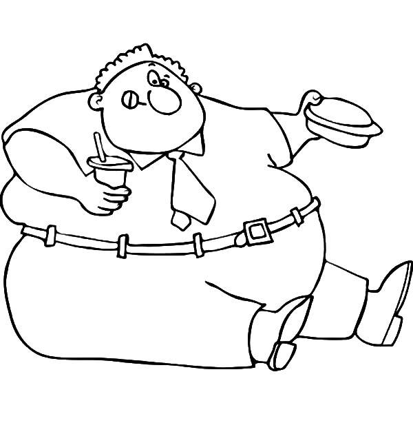 Fat Boy Eating His Lunch Box Coloring Pages NetArt