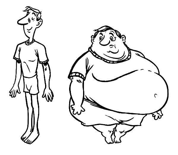 fat boy and slim boy coloring pages - Boy Coloring Pages
