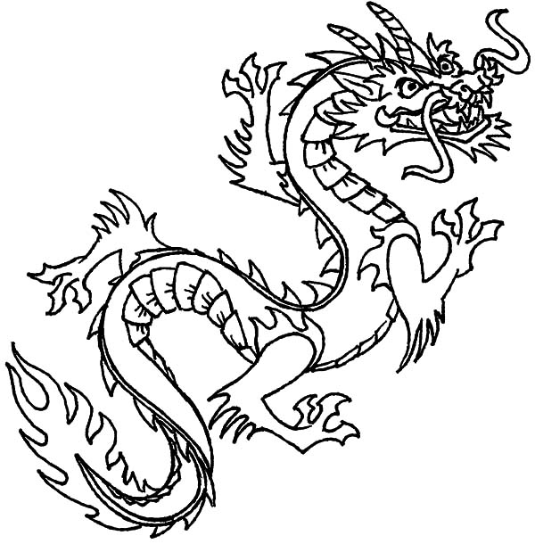 Flying Chinese Dragon Coloring Pages NetArt