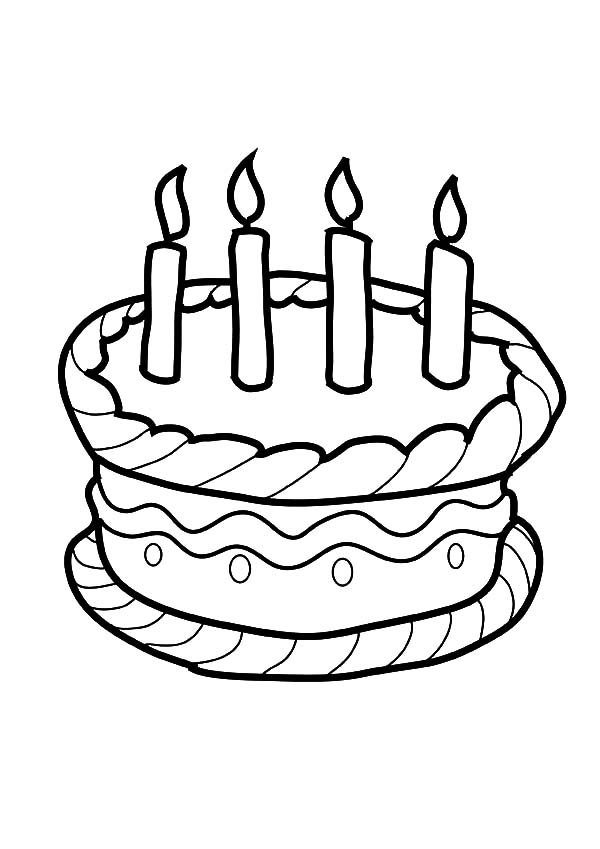 Four Candles on Birthday Cake Coloring Pages