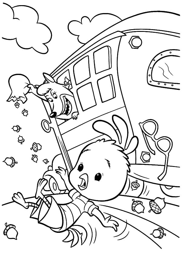 Foxy Loxy Throw Chicken Little Out of School Bus Coloring Pages