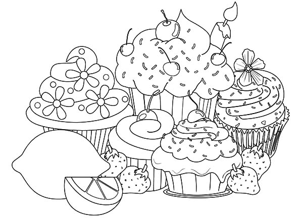 fruity cupcakes coloring pages