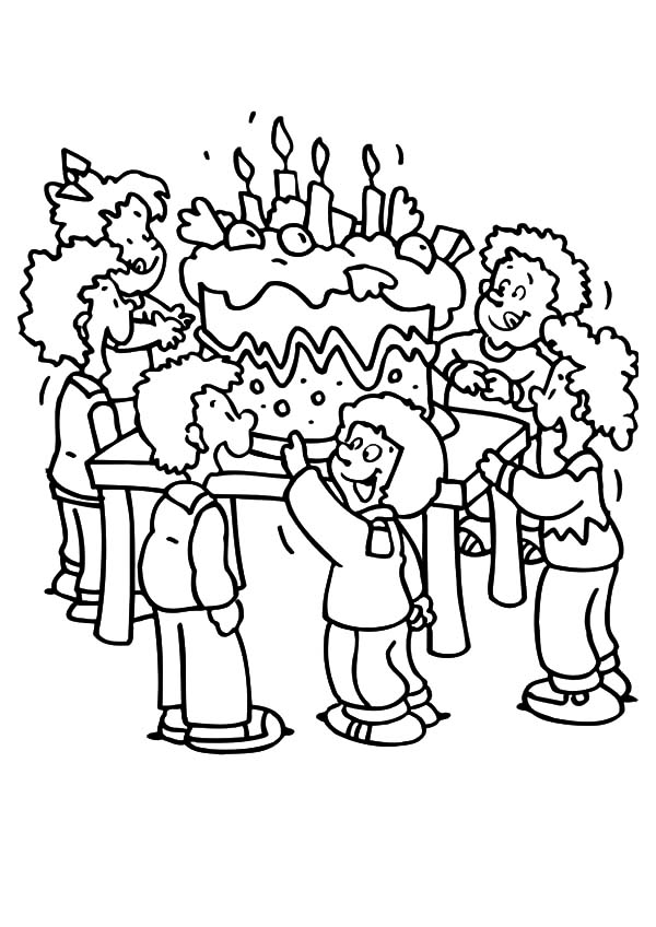 Giant Birthday Cake for Birthday Party Coloring Pages