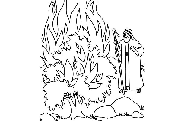 coloring pages moses burning bush | Moses Burning Bush Coloring Page Sketch Coloring Page