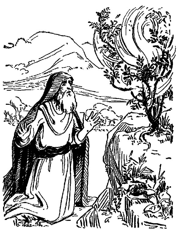 God Speak to Moses Through Burning Bush Coloring Pages
