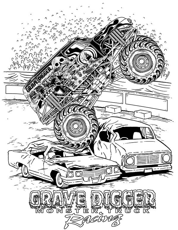 Grave Digger Crashed Cars Coloring Pages