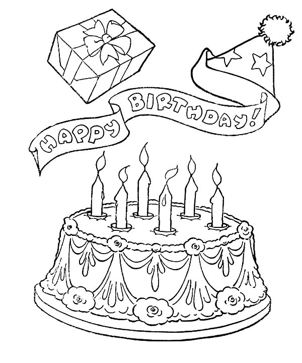 Happy Birthday Cake and Gifts Coloring Pages