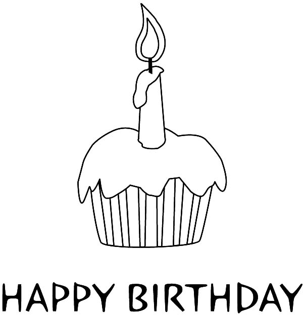 Happy Birthday Candle on Delicious Cupcake Coloring Pages - NetArt