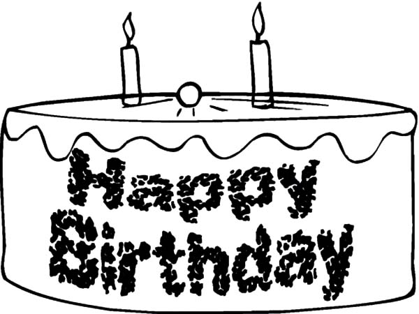 Happy Birthday Chocolate Cake Coloring Pages