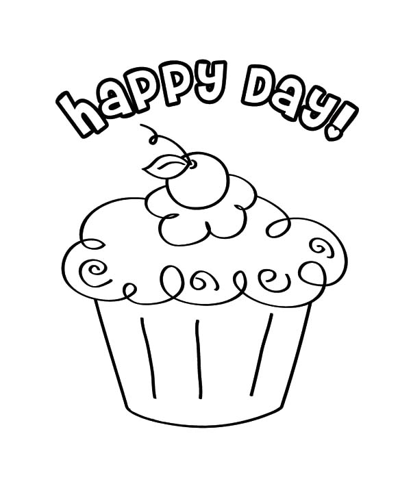 Happy Day Cupcakes Coloring Pages