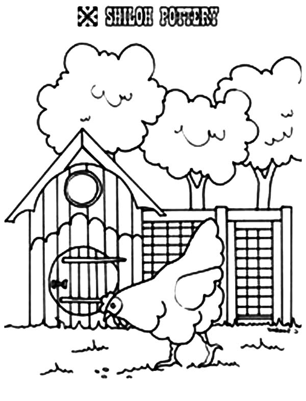 Hen Walking Passing Chicken Coop Coloring Pages