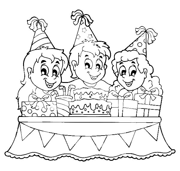 How to Draw Birthday Party Coloring Pages